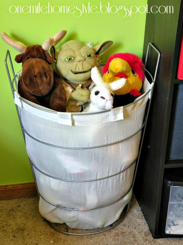 Hamper storage for stuffed animals - kids room organization