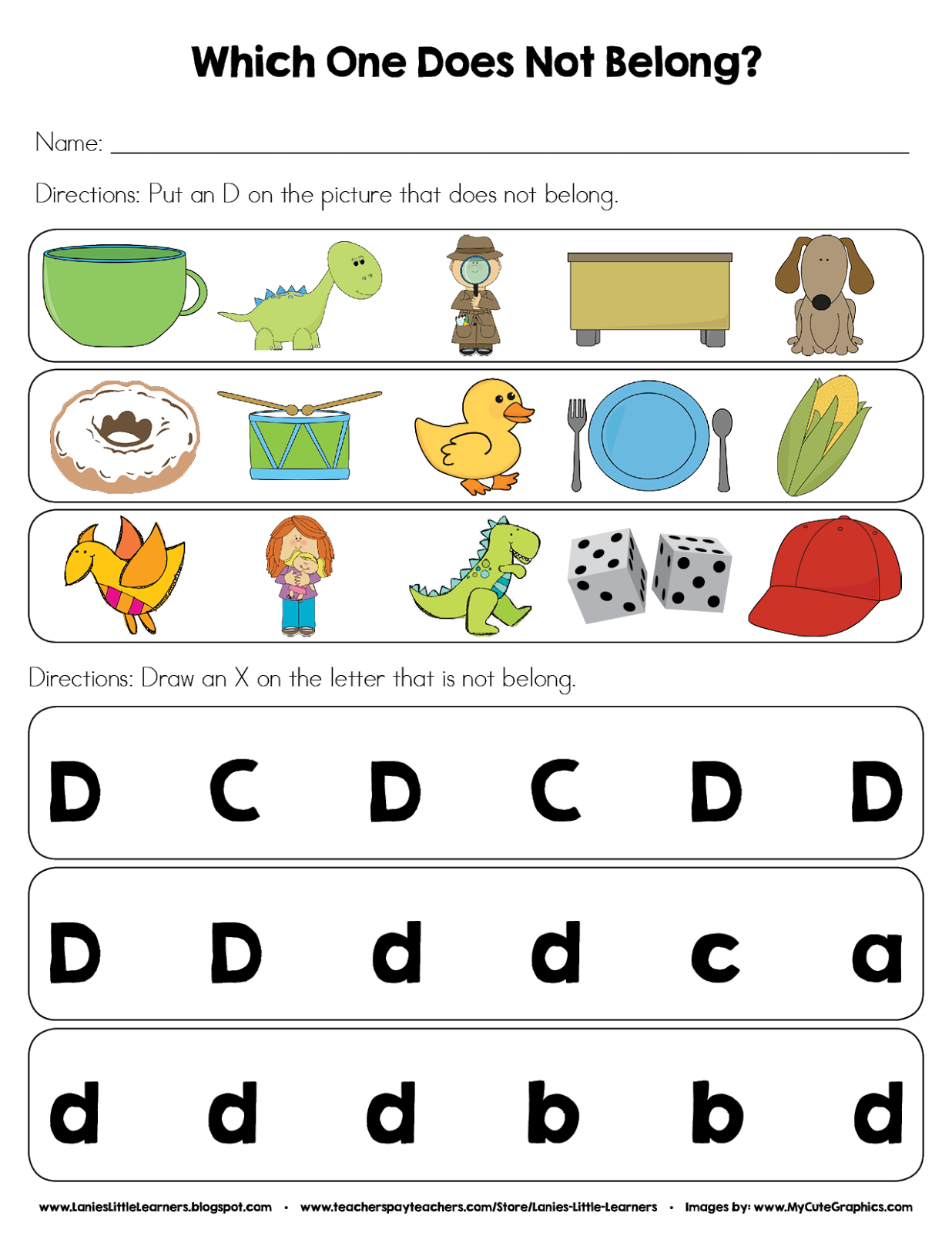 DOWNLOAD FREEBIE>> Which One Does Not Belong? (Letter D) Worksheet