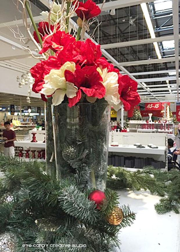 christmas garland, christmas flowers, ornaments at IKEA