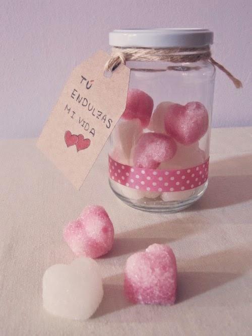 Presentación tarro con terrones de azúcar de corazones