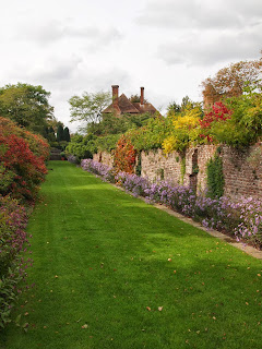 Colourful autumn border at Sissinghurst Castle Gardens, Kent