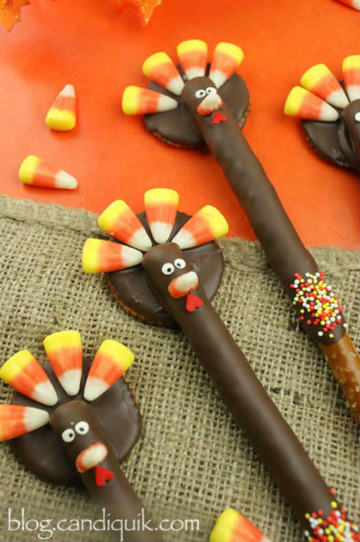 Choco Turkey Pretzels Pretzel Turkeys Recipe