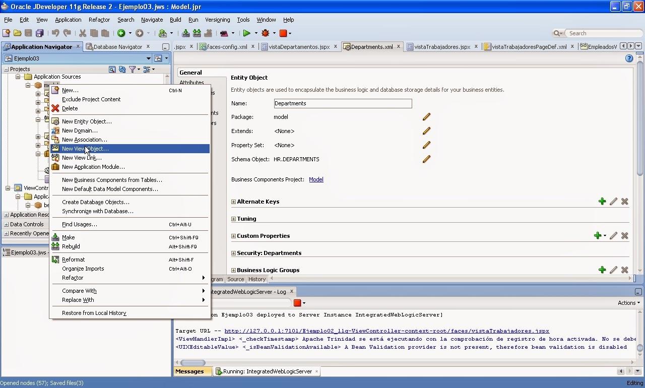 crear new viewobject menu contextual model