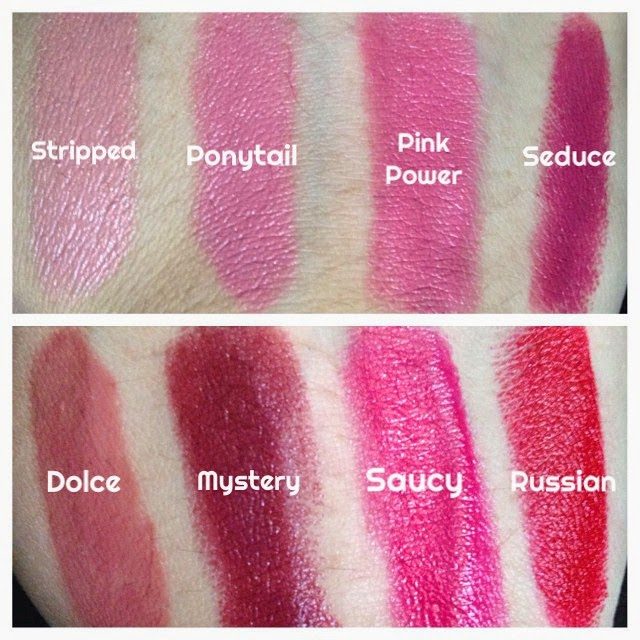 a picture of  Chelsea Dawn Lipsticks ; stripped, ponytail, pink power, seduce, dolce, mystery, saucy, russian (swatch)