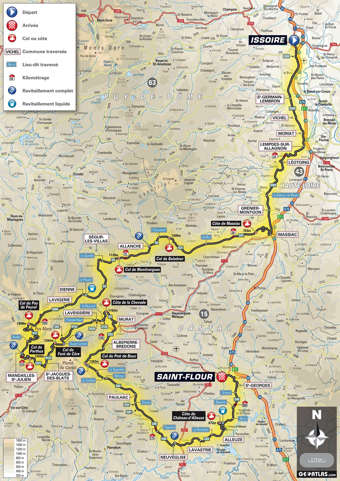 auvergne is a large administrative region of france and we would enter 3 of its 4 departmental areas starting in puy de dome 63 then haute loire 43 and