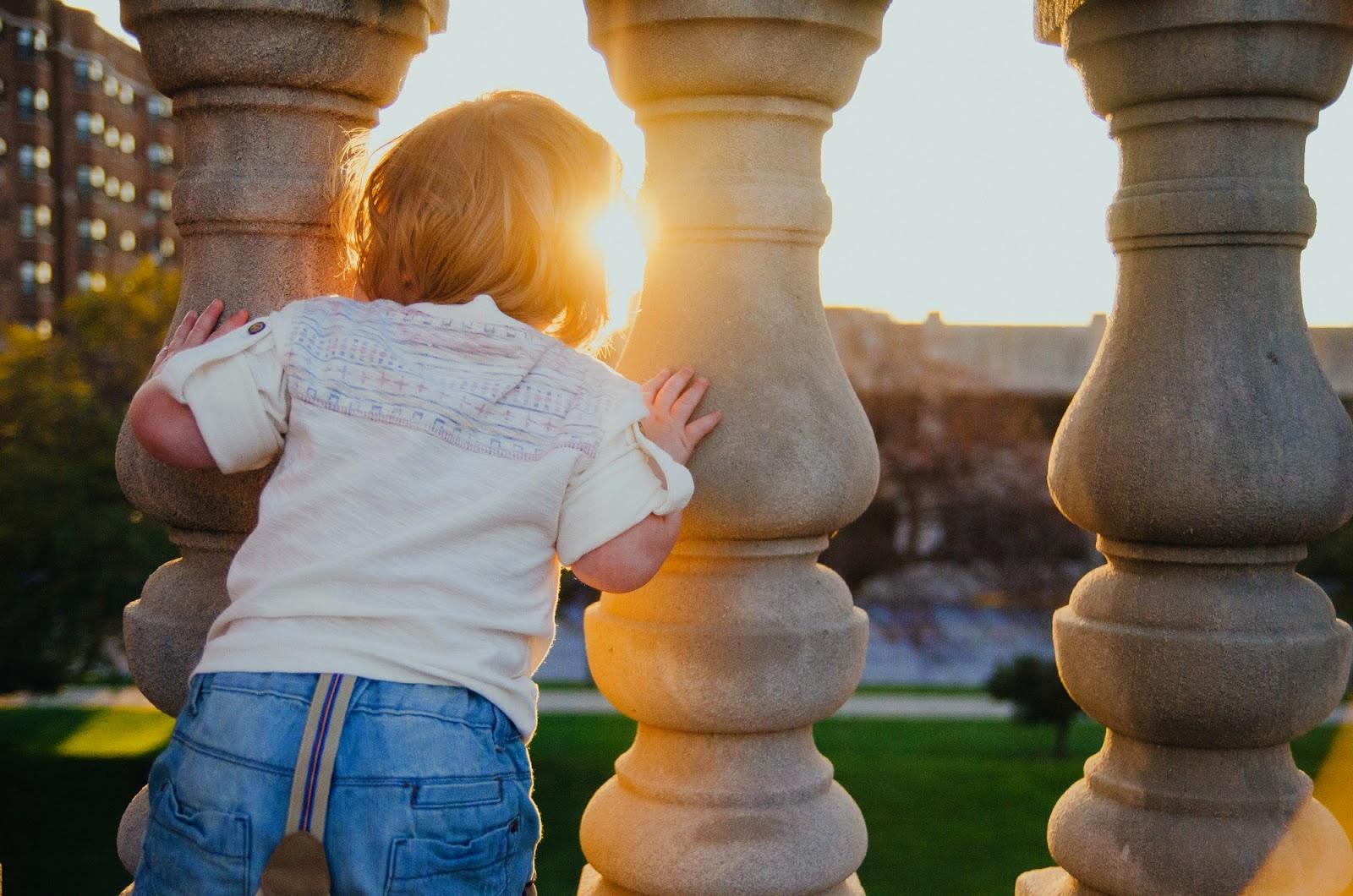 toddler peeks through a fence, indianapolis family photographer