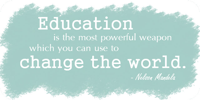 """Education is the most powerful"" quote by Nelson Mandela"