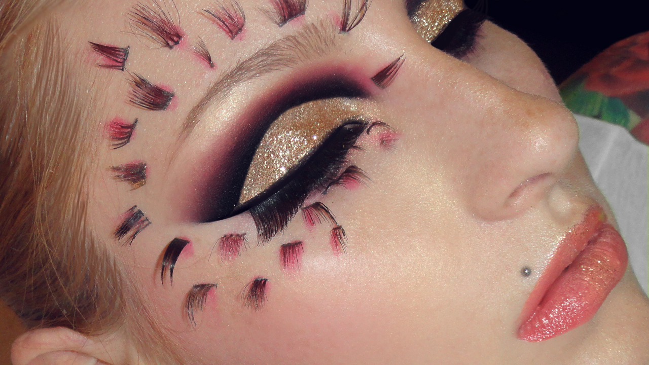 Kristianathe blog gold glitter look black with pink cut crease gold glitter look black with pink cut crease radiant stylized flower creative makeup tutorial baditri Gallery