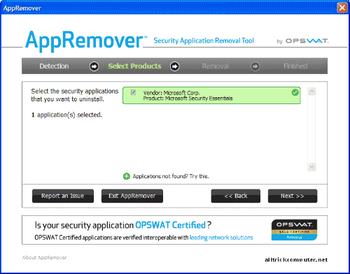 uninstall antivirus yang membandel menggunakan AppRemover