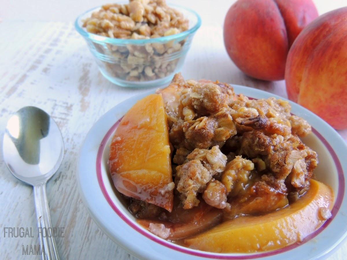 Spiced Rum Peach-Walnut Crisp via thefrugalfoodiemama.com