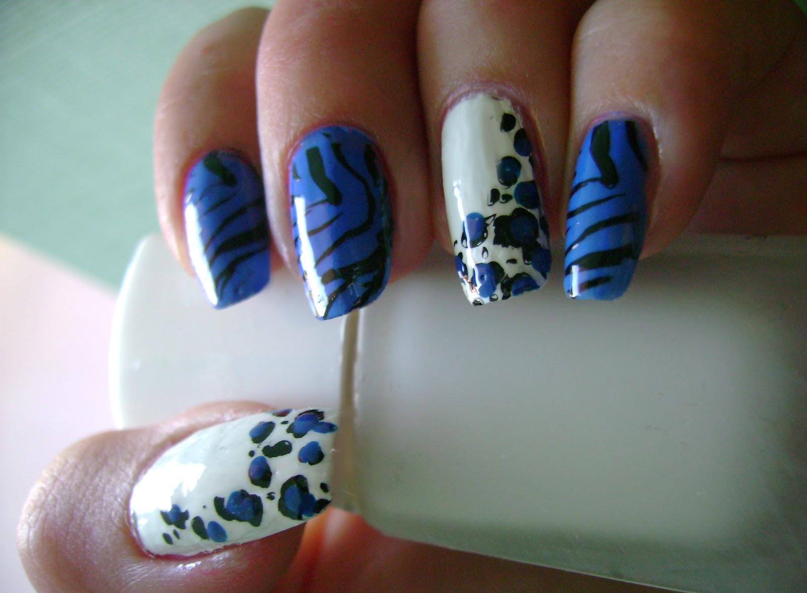 Acrylic Nail Art Designs Blue Animal Print Manicure