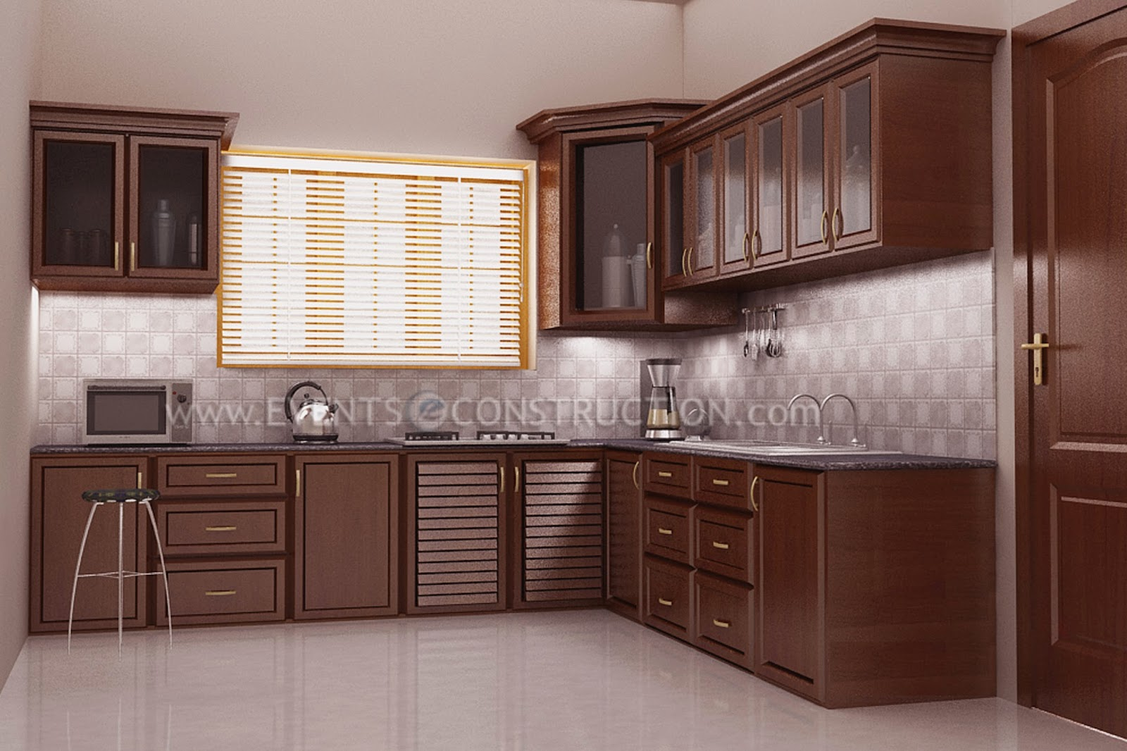 Evens construction pvt ltd kitchen design with wooden for House kitchen cabinets
