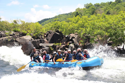 Exhilarated white water rafting, Dandeli