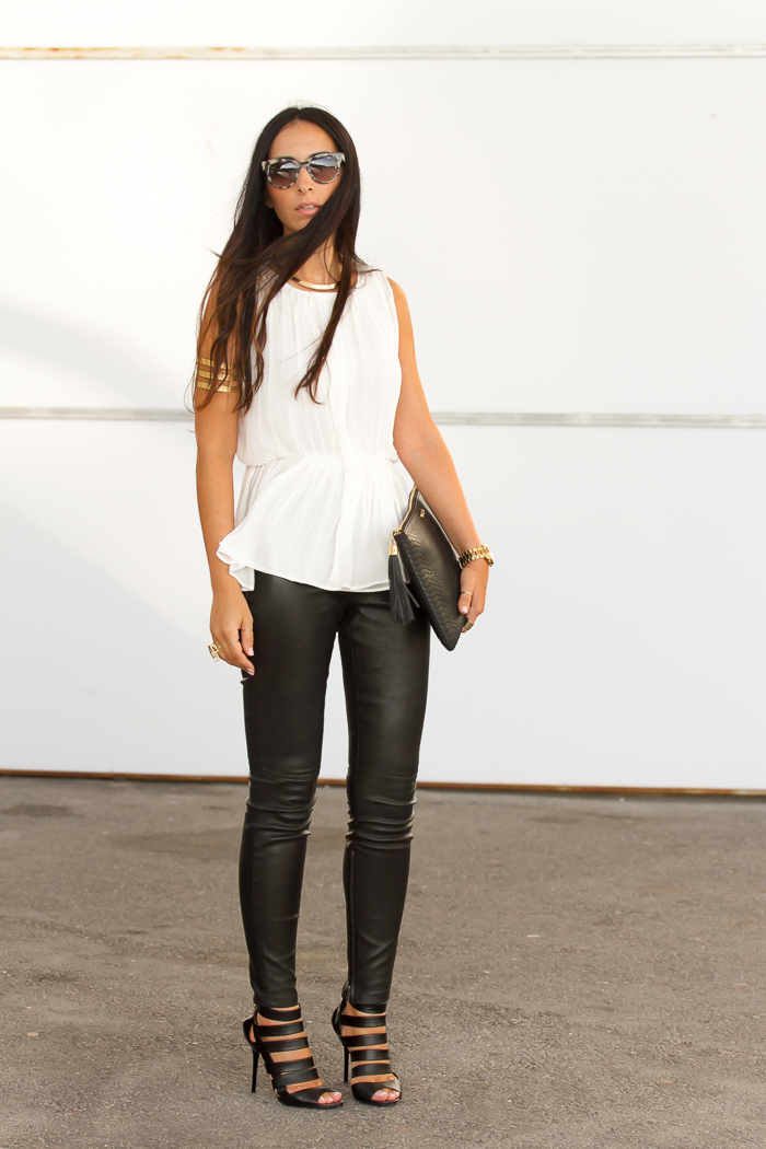 Muubaa Rica Leather leggings and Jimmy Choo Damsen sandals