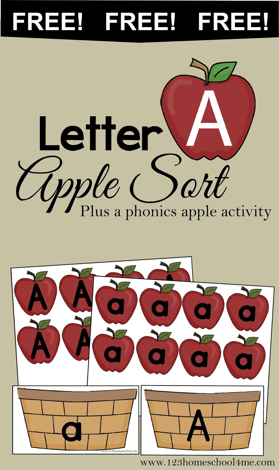 FREE! Letter A Apple Sort