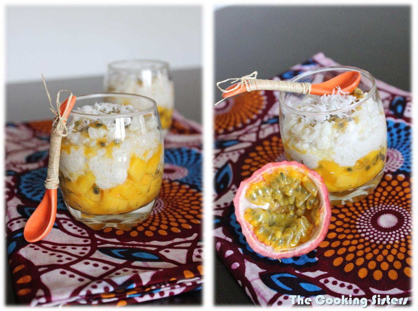 Riz au lait de coco sur lit passion mangue - Riz lait de coco ...