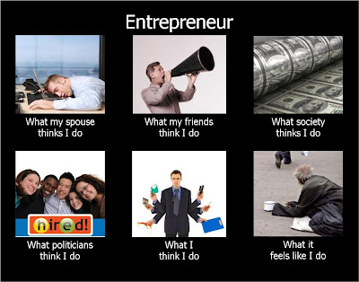 Entrepreneur meme | What my spouse thinks I do | What my friends think I do | What society thinks I do | What politicians think I do | What I think I do | What it feels like I do