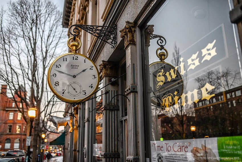 March 2015 Portland, Maine 86 Exchange Street Swiss Time store window and watch sign photo by Corey Templeton