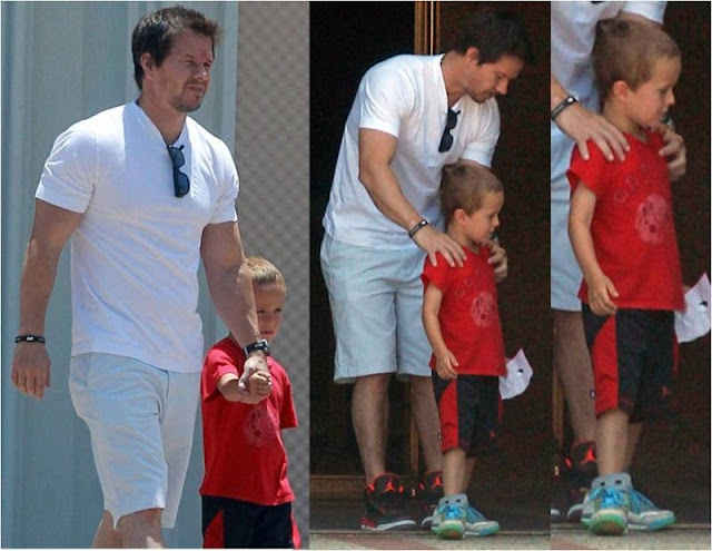 mark wahlberg and son brendan in junk food nfl fashion