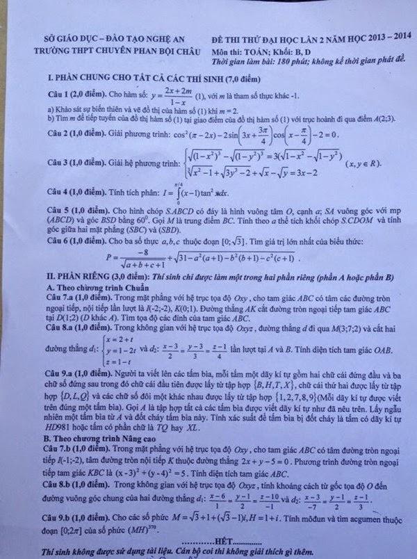 đề thi thử đại học môn toán lần II phan bội châu 2014 nói về HD 981
