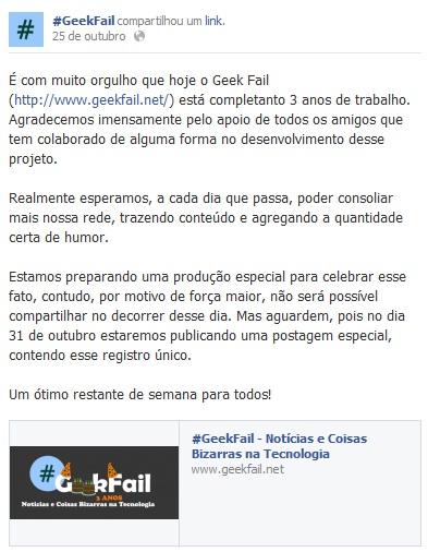 aniversario geekfail fan page facebook 2012