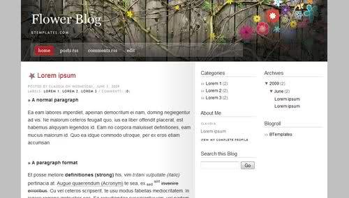 Blogger Gray Flowers Web2.0 Template