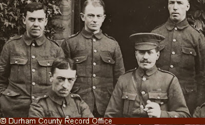 Members of 18th Battalion, DLI, at Cocken Hall, one soldier also appears on the photograph above, 1914-1915 (D/DLI 2/18/24(30))