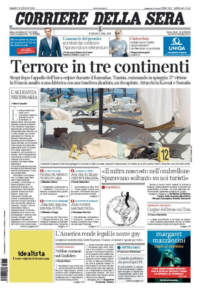 reportages quotidiani la miglior prima pagina di oggi On prima pagina corriere della sera