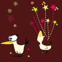party bird and firework pattern paper