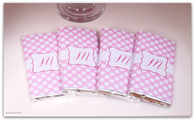 Pink romantic baby shower personalized chocolates from BistrotChic