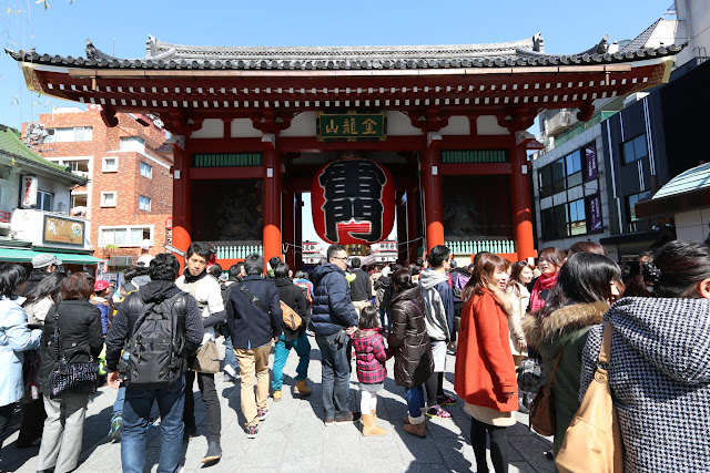 The main entrance gate of Kaminarimon Gate (Thunder Gate) at Asakusa Sensoji Temple which is always crowded with Japanese and tourists at Tokyo, Japan