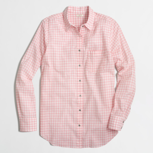 pink gingham button down shirt j crew factory on sale