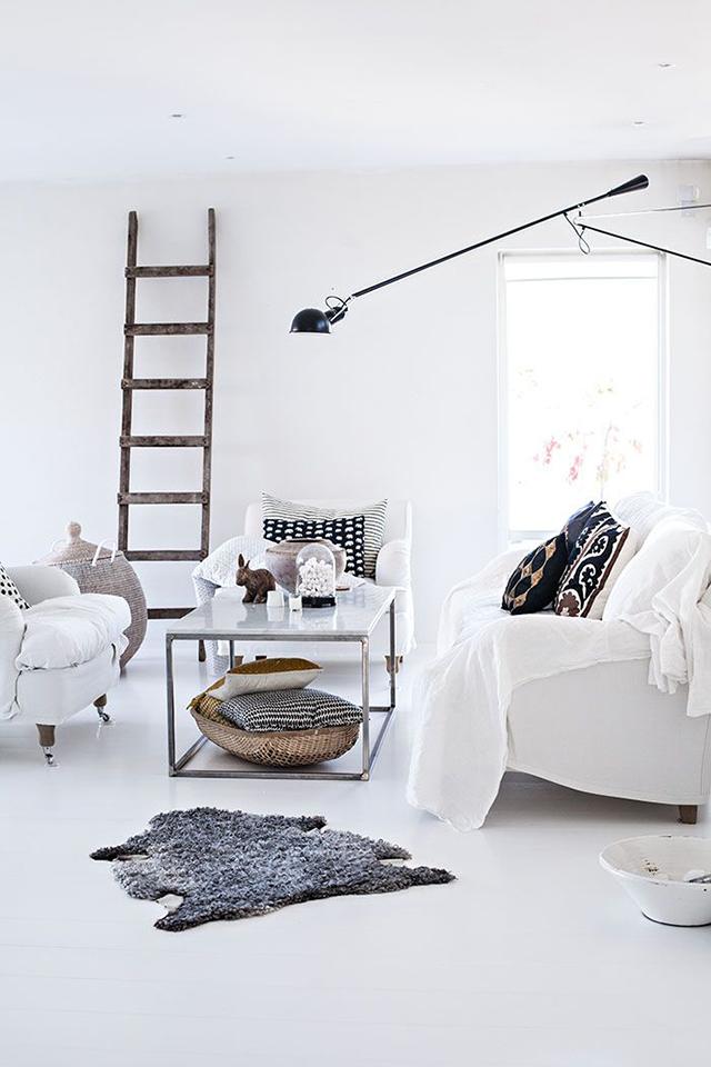 Escalera de madera como elemento decorativo