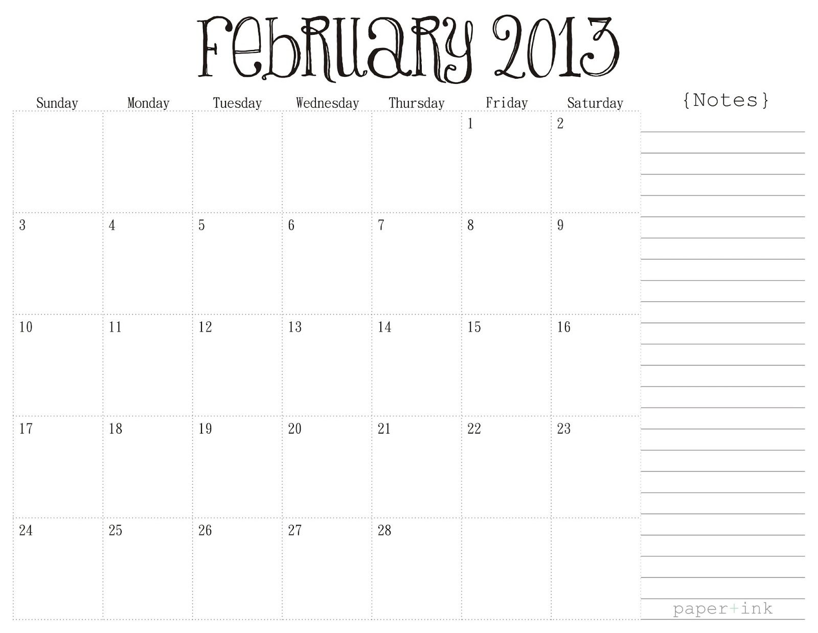 Pretty Unpretentious: Free Printable Calendars: February 2013