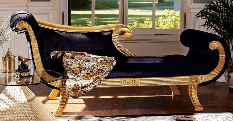 Ancient Egyptian Antique Replica Hand Carved Royal Chaise Lounge Indoor