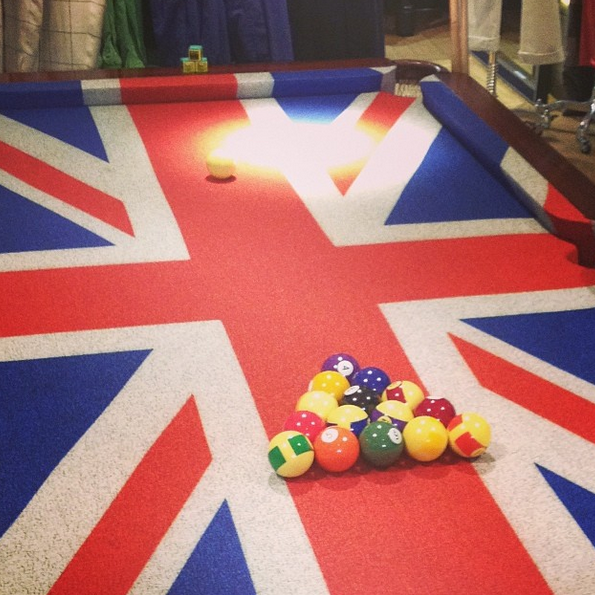 union jack, pool table,