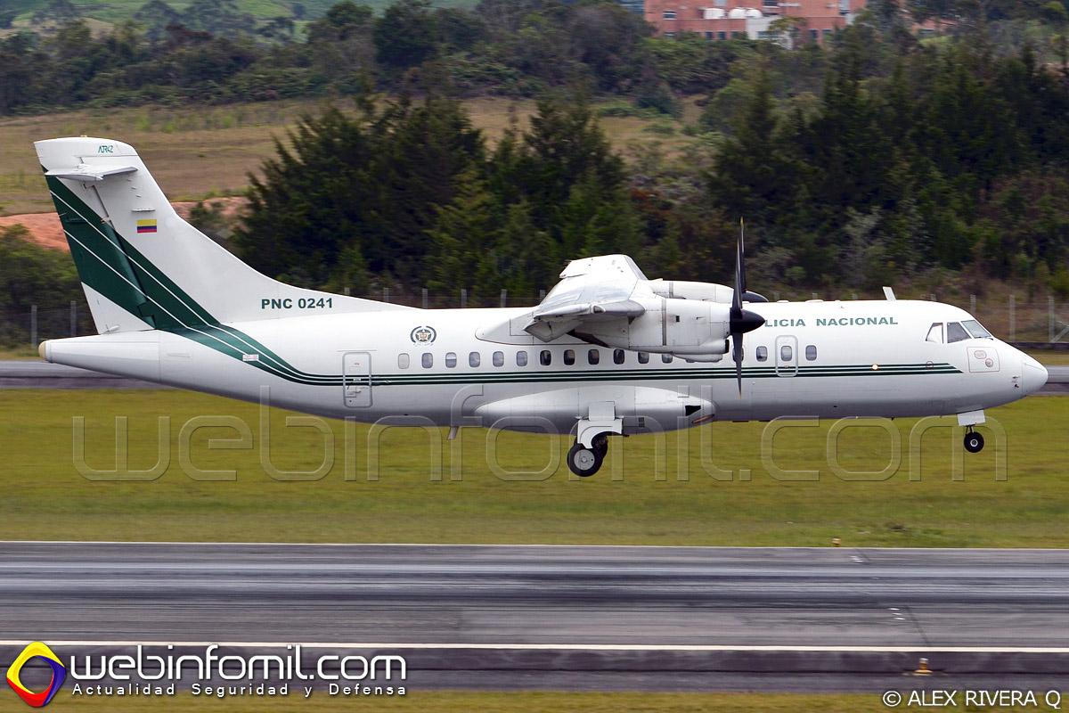 Luego de permanecer por más de un año en tierra, el primer avión ATR 42-320 adquirido por la Policía Nacional de Colombia de matrícula PNC-0241, vuelve al servicio activo para continuar realizando misiones de transporte de personal, enlace y apoyo logístico a todas las guarniciones policiales ubicadas a lo largo y ancho del territorio nacional.