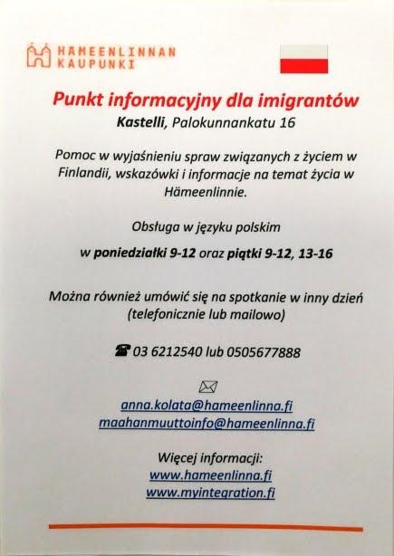 Info dla Imigrantów po polsku w Hämeenlinnie