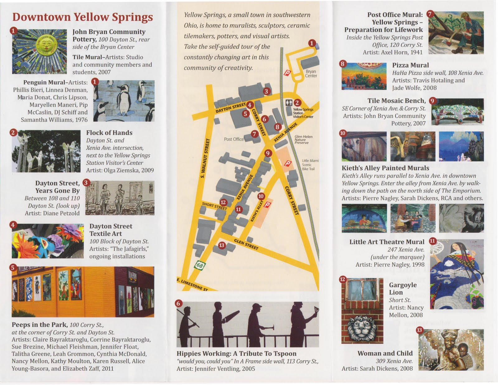 Yellow Springs Arts Public Art Map Of Yellow Springs
