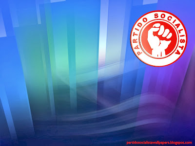 Fundo de ecrã ou papel de parede do Partido Socialista Português emblema do Punho em estilo frontal Paisagem de Cristal para utilizar como fundo de tela do seu ambiente de trabalho