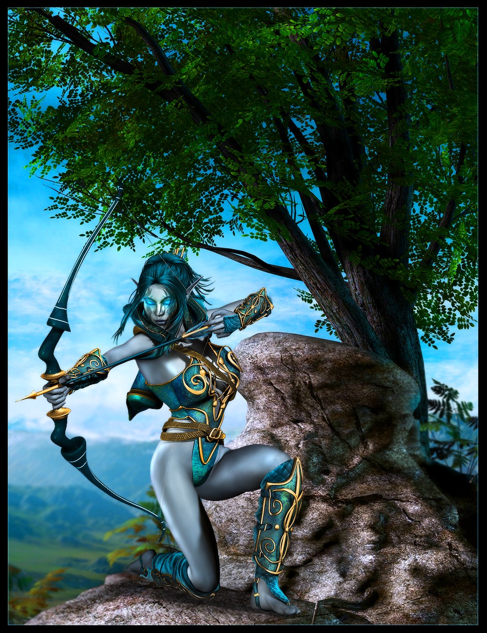 Blue skinned elves erotic scene