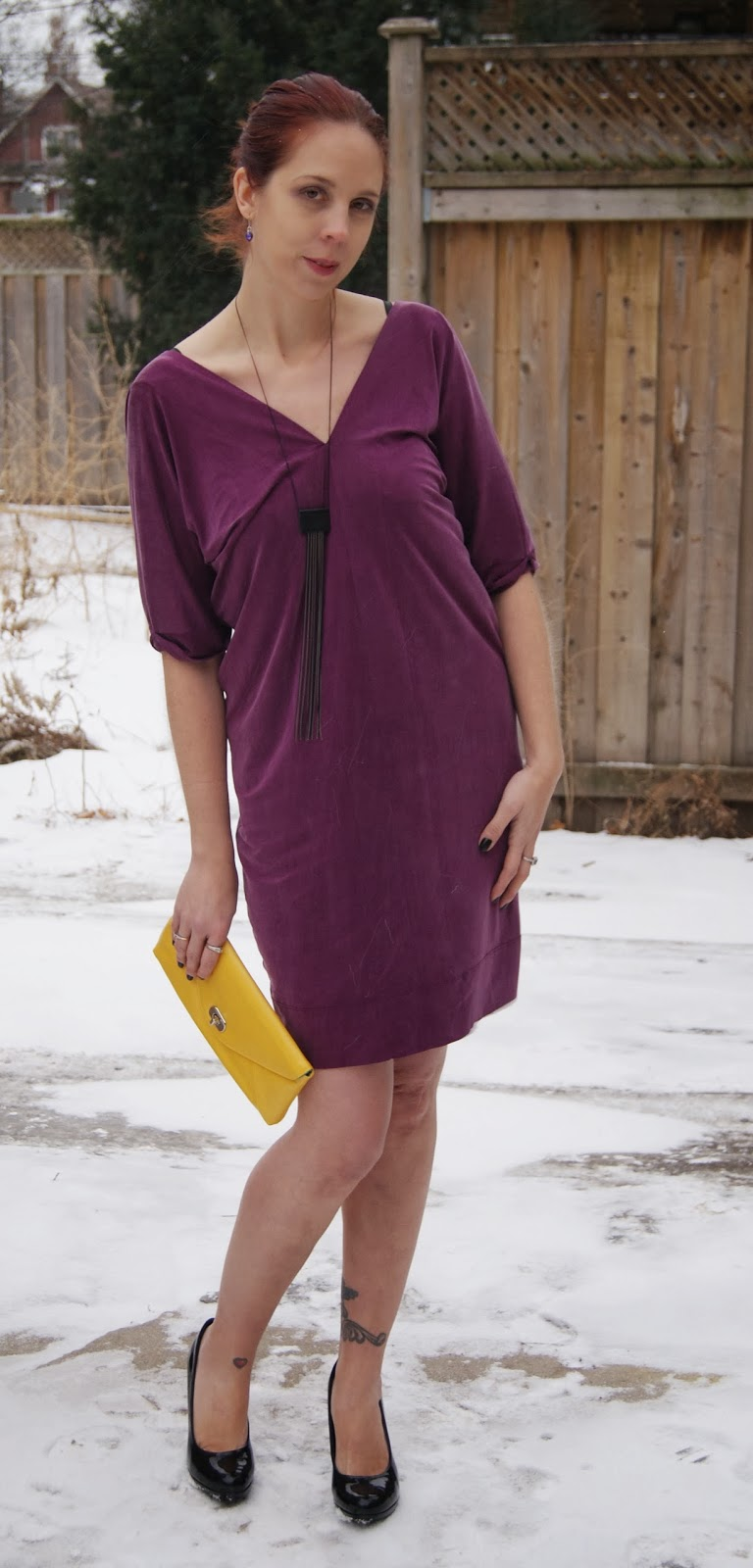 My Style: Purple Diesel Dress, Shop For Jayu Necklace, Jessica Black Shoes, Vintage Yellow Clutch, Fashion, Melanie.Ps blogger, The  Scarf, Toronto