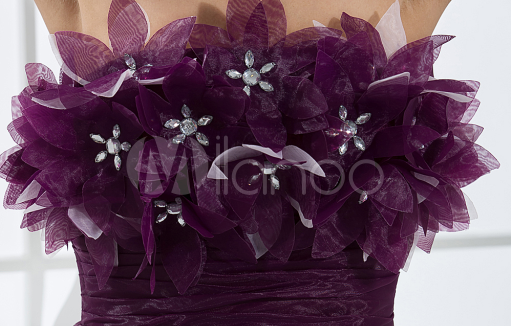 China Wholesale Clothes - Elegant Mini Grape Strapless Tulle Womens Homecoming Dress