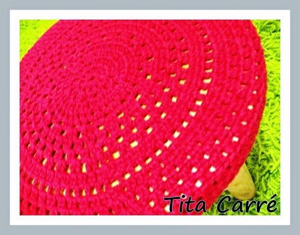 Capa para banco Vermelha em crochet