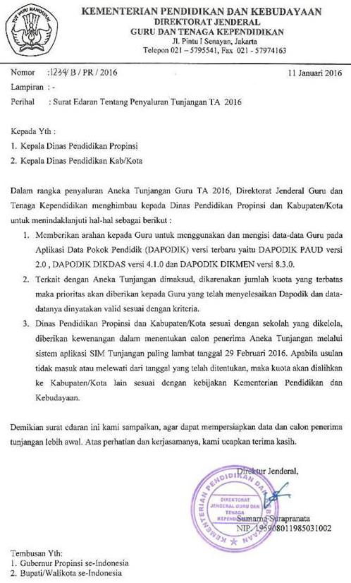Surat Edaran Dirjen Gtk Tentang Penyaluran Aneka Tunjangan