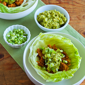 Slow Cooker Pulled Chicken (or pork) Lettuce Wraps Recipe with Low-Sugar Barbecue Sauce found on KalynsKitchen.com