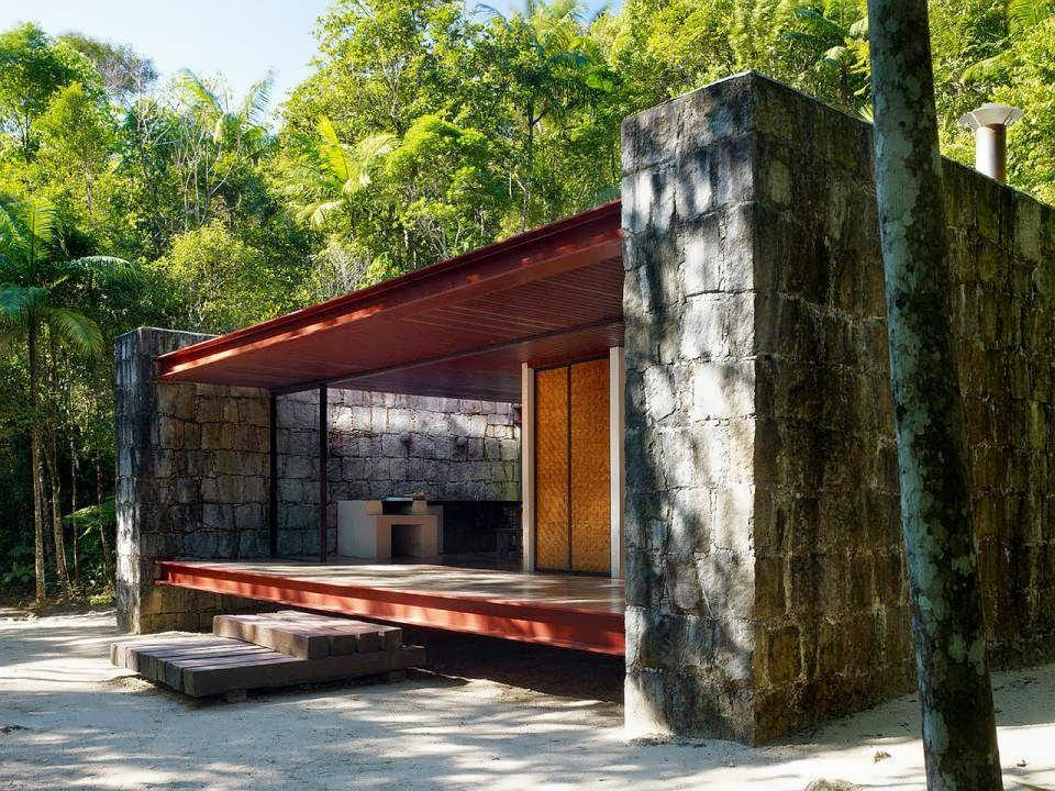 Half Glass, Half Rocks, and Wood Minimalist House of Cabin Design by  Architect Carla Juacaba