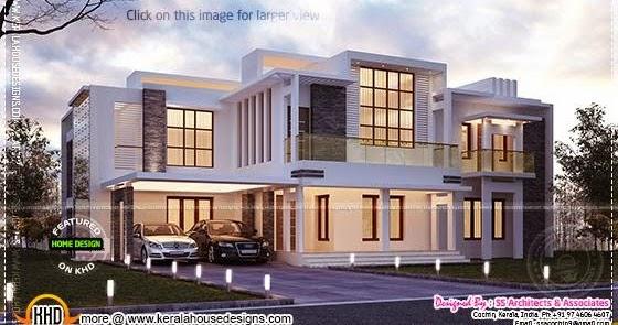 Contemporary Night View Villa Kerala Home Design And