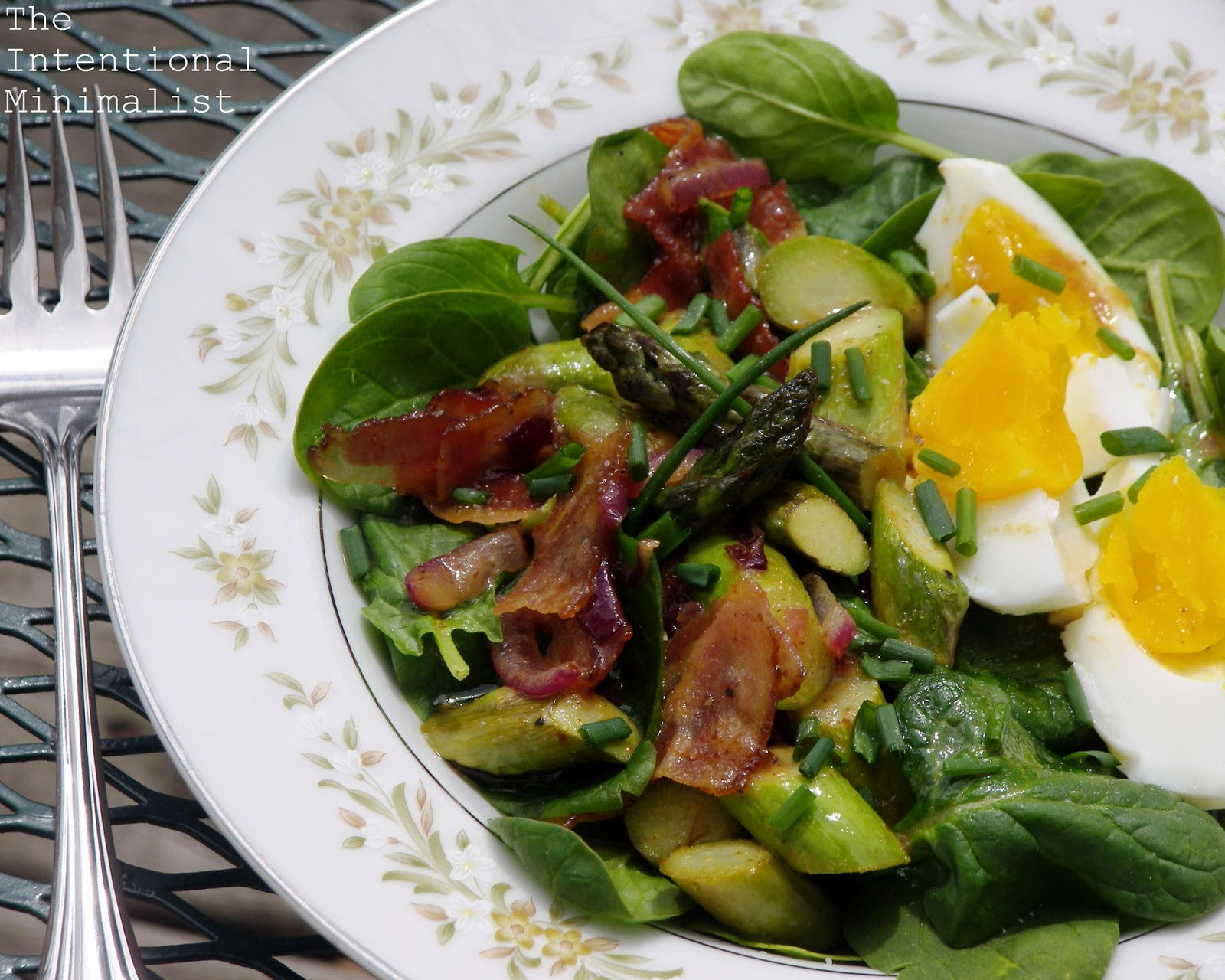 ... : Wilted Spinach and Asparagus Salad with Warm Honey Mustard Dressing