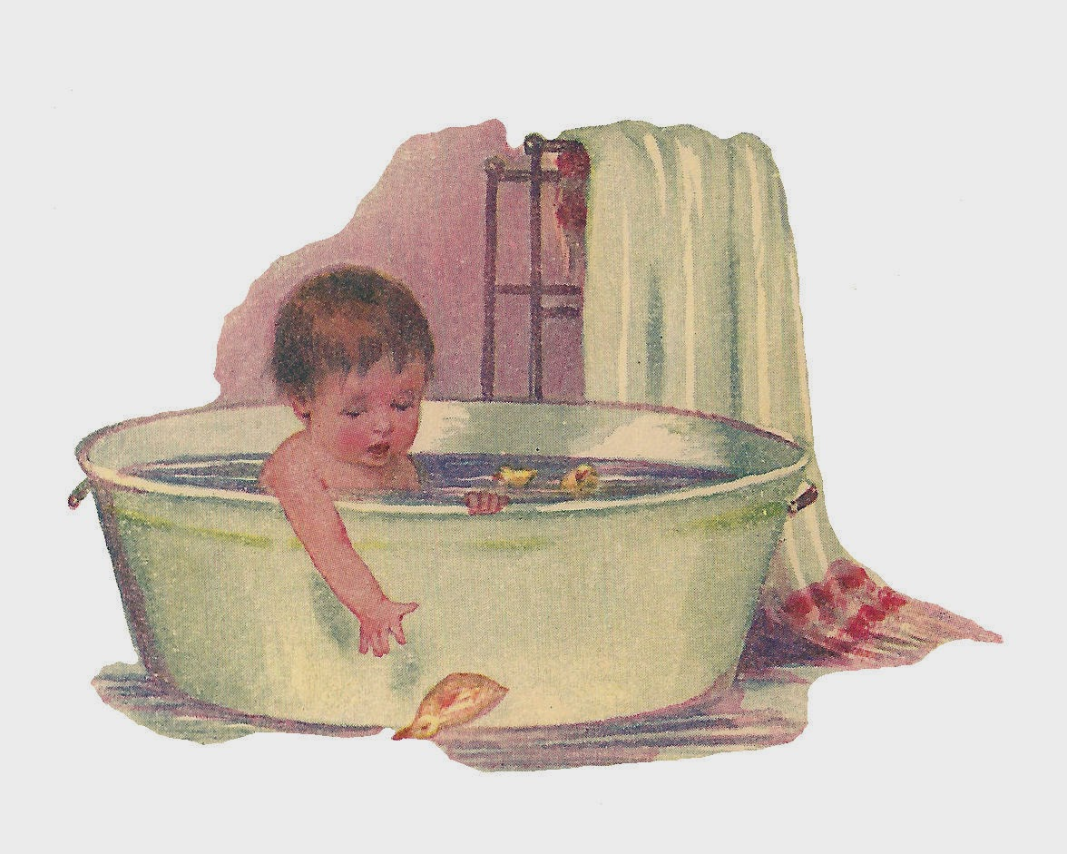 Antique Images: Free Baby Clip Art: Baby Taking Bath in Vintage Tub ...